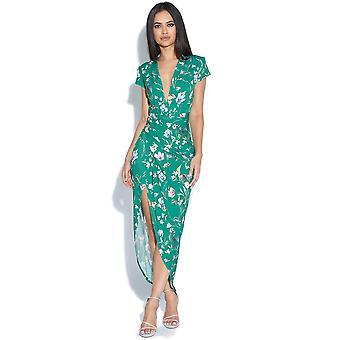 Cap ärm grön blommig Print Plunge klänning