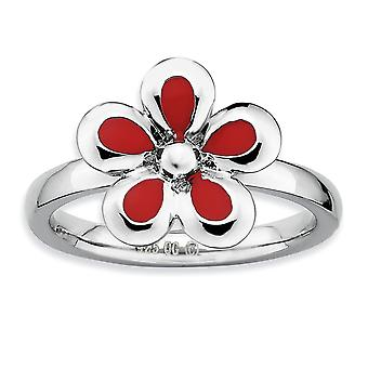 925 Sterling Silver Rhodium plated Stackable Expressions Polished Red Enameled Flower Ring Jewelry Gifts for Women - Rin