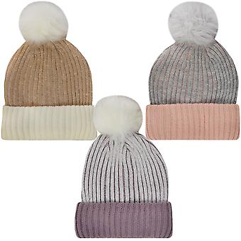ProClimate Womens Winter Knitted Beanie Faux Fur Pom Pom Bobble Hat