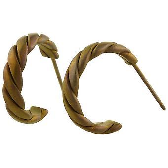 Ti2 Titanium Medium Twisted Hoop Earrings - Tan Beige