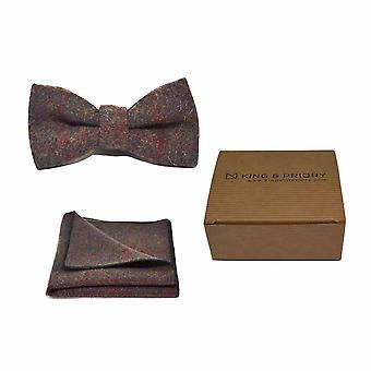Erfgoed Check aarde bruin strikje & zak plein Set - Tweed, geruite land Look | Boxed