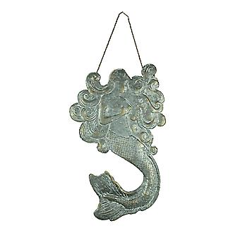 Vintage Rustic Embossed Tin Mermaid Wall Hanging