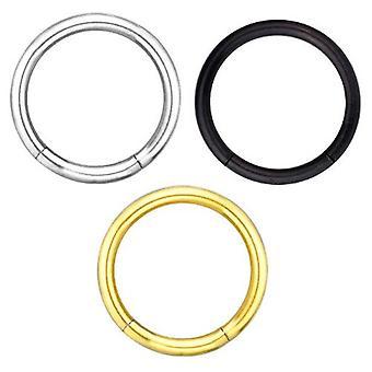 3 Aseta paketti segmentin lävistyksiä rengas 1,2 mm, hopea, musta, kullattu | 6-12 mm