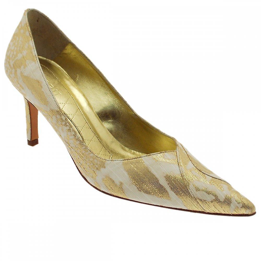 Magrit Gold/cream High Heeled Court Shoe rYIZ9