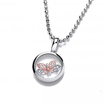 """Cavendish French Celestial Silver and Rose Gold Mini Butterfly Pendant with 18-20"""" silver chain"""