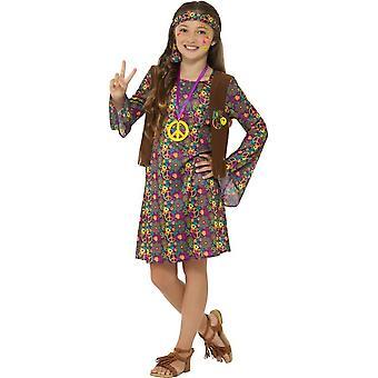 Hippie Girl Costume, with Dress, Girls Fancy Dress, Medium Age 7-9