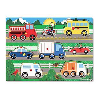 Мелисса & Дуг 19051 автомобили деревянный колышек головоломки (8 шт.)