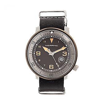 Morphic M58 Series Nato Leather-Band Watch w/ Date - Gunmetal/Black