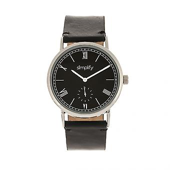 Simplify The 5100 Leather-Band Watch - Black