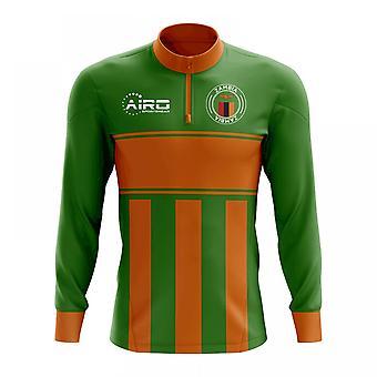 Zambia koncept futbal Half zips Midlayer top (zelená-oranžová)