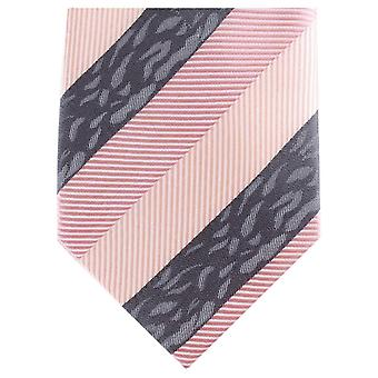 Knightsbridge Neckwear Multi Textured Regular Polyester Tie - Pink/Grey