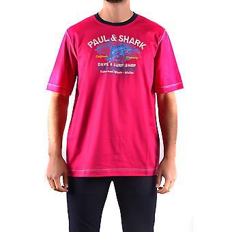Paul & Shark Ezbc042035 Men's Fuchsia Cotton T-shirt