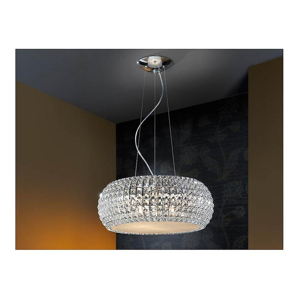 Schuller Art Deco Chrome Open Oval Ceiling Pendant 9 Light