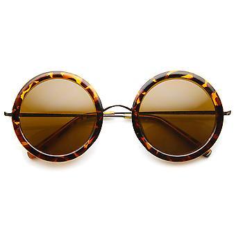 Okulary damskie wysokiej mody eleganckie okrągłe koło z ramionami z metalu