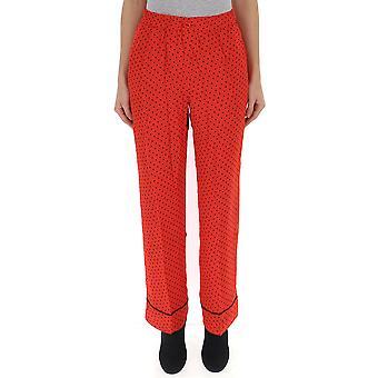 Ganni F2989403 Women's Red Viscose Pants