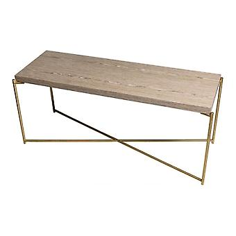 Gillmore Weathered Oak Low Console Media Table With Brass Cross Base