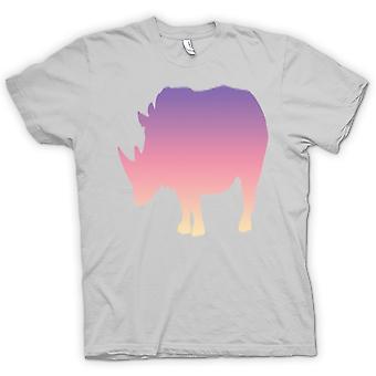 Mens T-shirt-Regenbogen Rhino Psychedelic