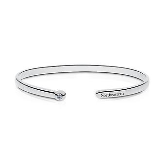 Northeastern University Engraved Sterling Silver Diamond Cuff Bracelet