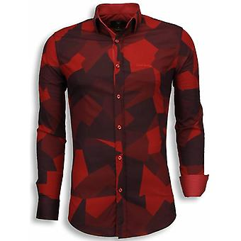 E Shirts - Slim Fit - Modern Army Pattern - Red