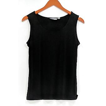 Susan Graver Women's Top Black Sleeveless Knit Tank A308256