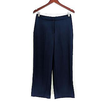 Susan Graver Women's Pantalones Chelsea Stretch Wide Leg Crop Blue A288671