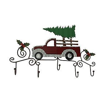 Metal Art Scroll Rustic Red Truck z drzewem i holly wall hook rack