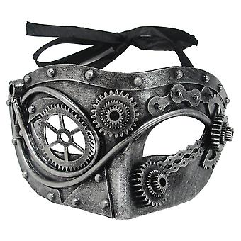 Steampunk Steel Gear Silver Mechanical Science Fiction Mens Costume Eye Mask