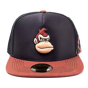 Donkey Kong Baseball Cap Moulded Face new Official Super Mario Brown Snapback
