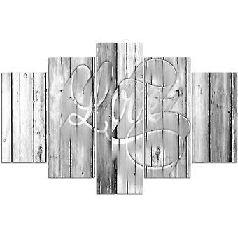 Vijf deel foto op canvas, Pentaptych, type A, liefde inscriptie op de grijze planken