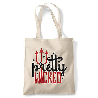 Pretty Wicked Tote | Halloween Fancy Dress Costume Trick Or Treat | Reusable Shopping Cotton Canvas Long Handled Natural Shopper Eco-Friendly Fashion