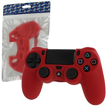 Soft silicone rubber skin grip cover for sony ps4 controller with ribbed handle - red