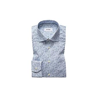 Eton Camisa Contemporánea Azul Paisley