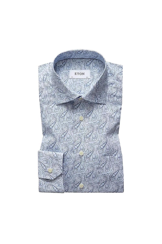 Eton Contemporary Shirt Blue Paisley