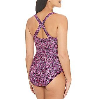 Zoggs Womens Mandala Leisure Crossback Swimming Swim Pool Swimsuit Costume Pink