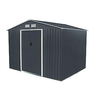 Charles Bentley Navy Grey 9ft x 6ft Metal Steel Garden Shed Outdoor Storage