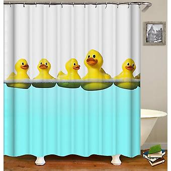 Swimming Rubber Duck Shower Curtain
