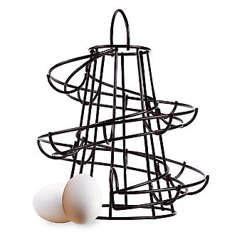 Black Spiral Egg Holder Storage Kitchen Stand Rack Holds Up To 18 Eggs