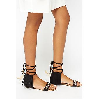 Rodeo Black Aztec Tassel Sandals