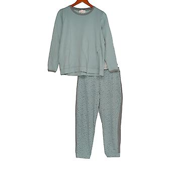 Stan Herman Women's Pajama Set French Terry Tunic & Jogger Green A301848