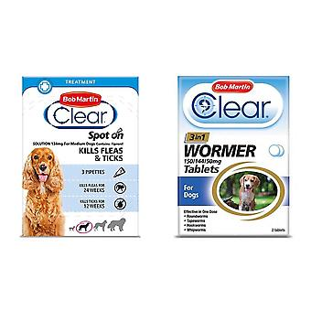Bob Martin Clear Flea Removal and Wormer Tablets Spot On for Medium Dogs