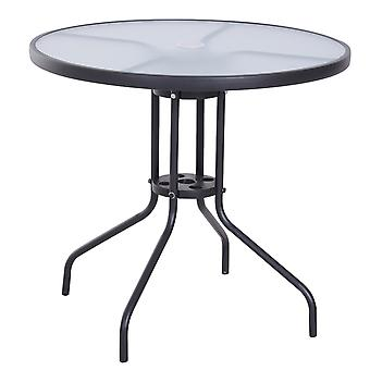 Outsunny Bistro Table Outdoor Round Dining Coffee Table Tempered Glass Top  Side Table Patio Garden - 80cm Diameter