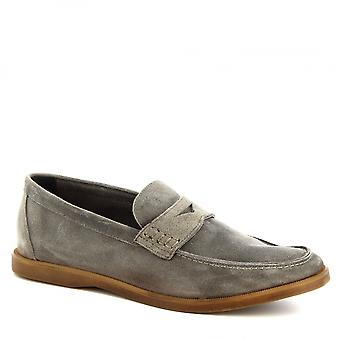 Leonardo Shoes Men's handmade slip-on loafers shoes in gray suede leather