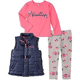 Nautica Girls' Little 3 Pieces Vest Pants Set, Navy/Pink Lemonade, 5