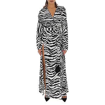 Attico Ats20524520 Damen's Weiß/Schwarz Polyester Kleid