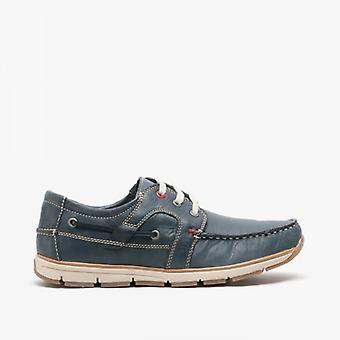 Roamers Sanford Mens Leather Lace Up Moccasin Boat Shoes Navy