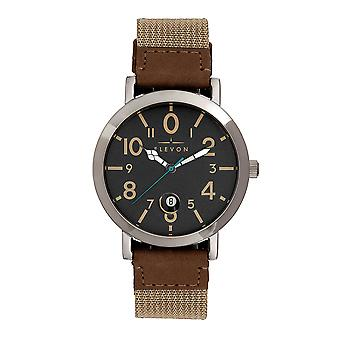 Elevon Mach 5 Canvas-Band Watch w/Date - Light Brown