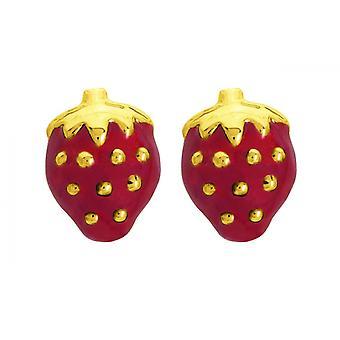 Ohrringe/rote Erdbeere Ohrringe gold 750/1000 gelb (18K)