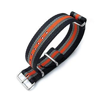 Strapcode n.a.t.o حزام ووتش miltat 20mm g10 حزام ذيل رصاصة الناتو، النايلون الباليستية، نحى - الأسود والرمادي والبرتقالي المشارب