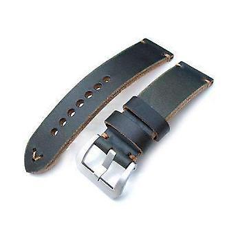Strap strap de montre en tissu Strapcode 24mm miltat horween chromexcel bracelet de montre, vert noirâtre, couture brune