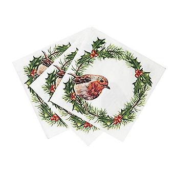 Botanică Robin cocktail hârtie șervețele de Crăciun x 20 3-straturi